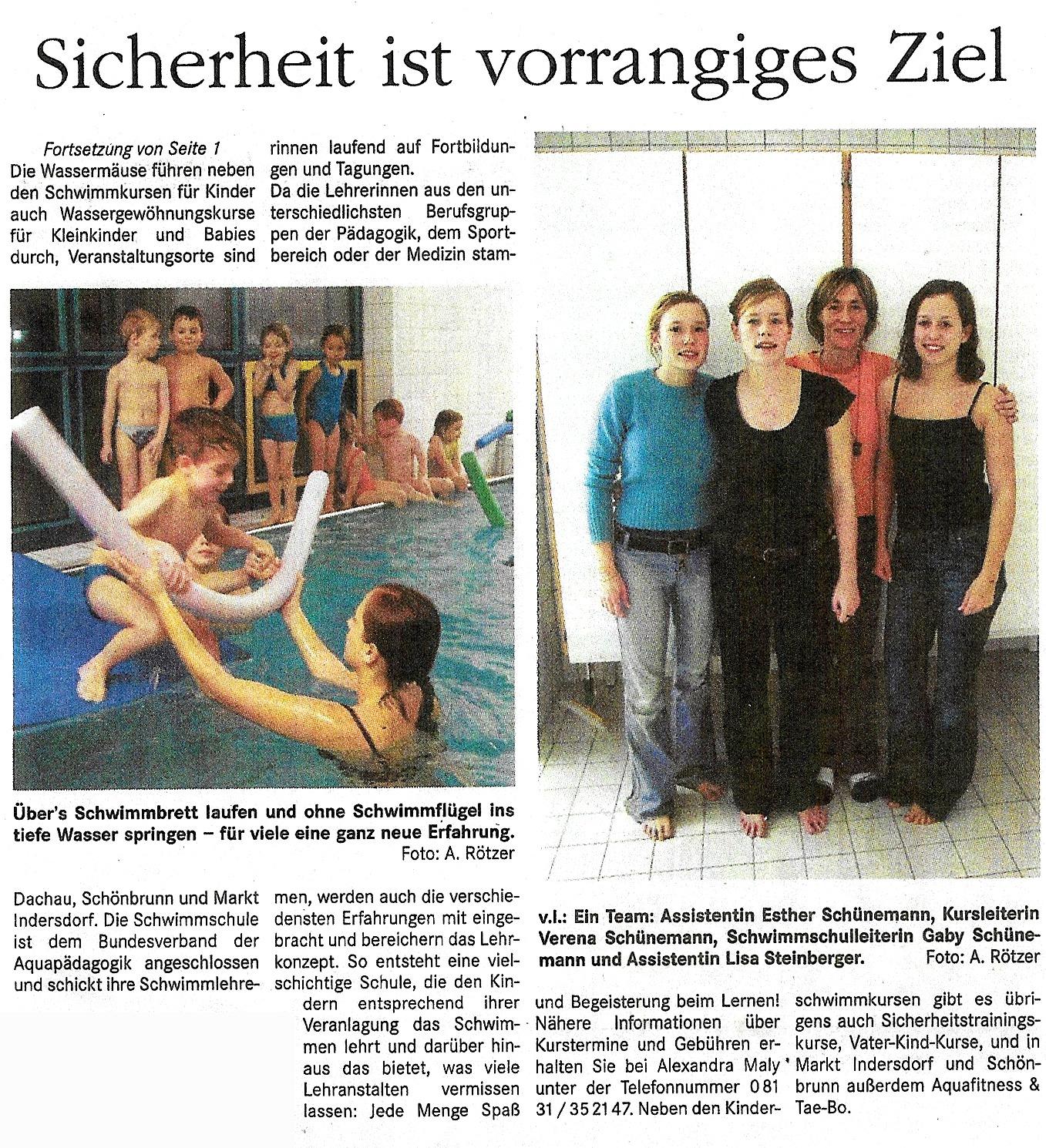 Schwimmkurs Schwimmschule Wassermäuse 2003