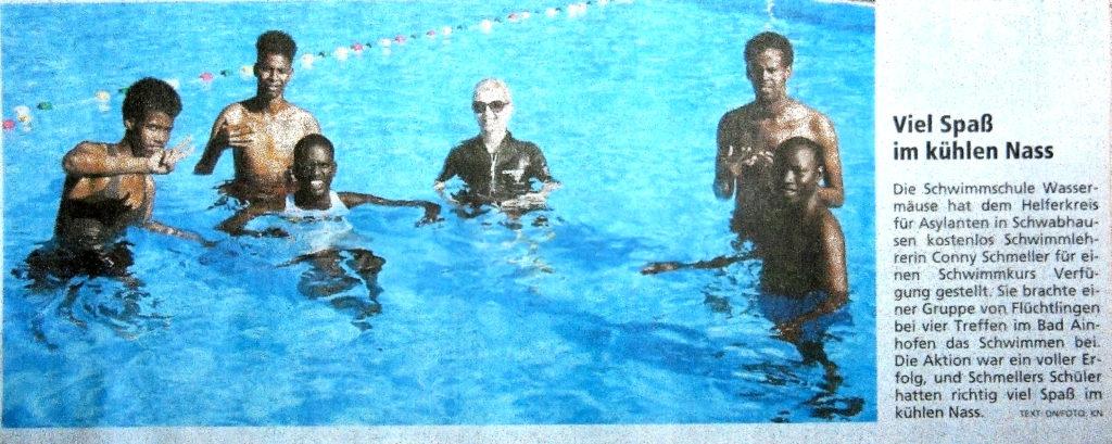 Schwimmkurs Asylanten Schwimmschule Wassermäuse